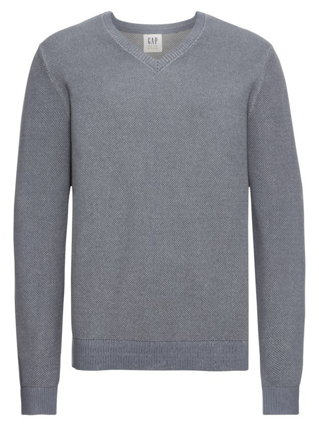 GAP Sweter 'LIGHTWEIGHT TEXTURE COTTON VEE' szary