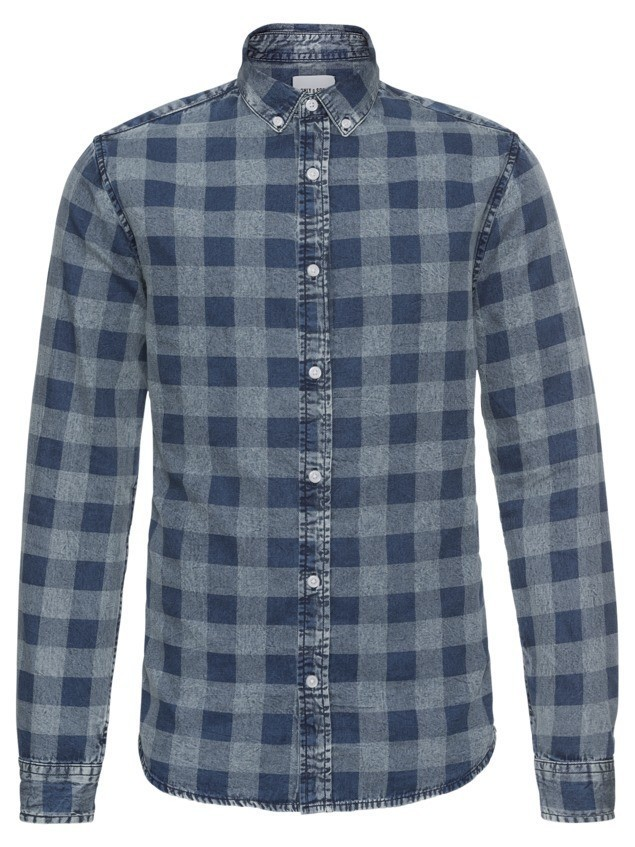Only & Sons Koszula 'NESTOR LS CHECKED DENIM SHIRT' niebieski
