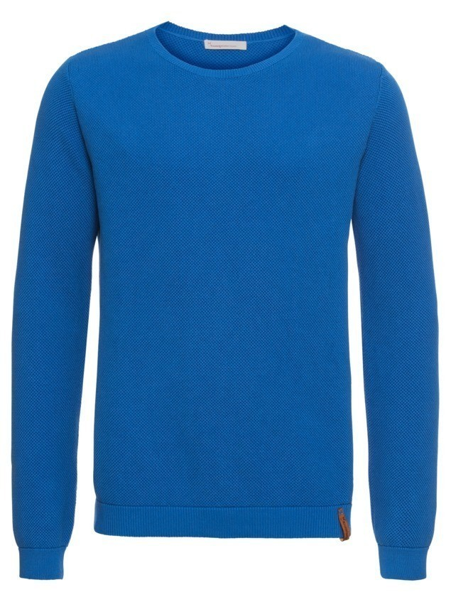 KnowledgeCotton Apparel Sweter 'Pique crew neck knit - GOTS' królewski błękit