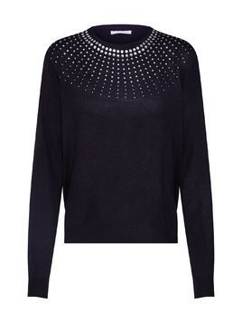 Mint&berry Sweter 'Crew neck jumper with studs' czarny