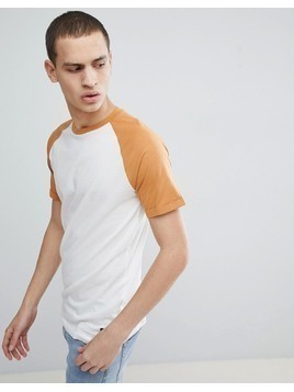 Produkt T-Shirt With Contrast Raglan Sleeve - White