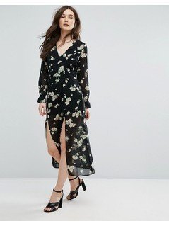 Influence Floral Midi Dress - Black