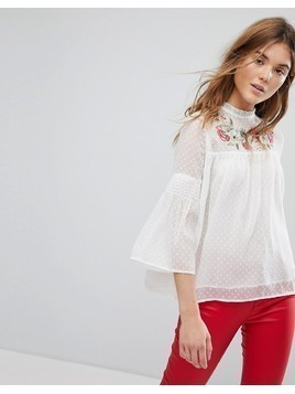 Pimkie White Dobby Mesh Blouse With Embroidered Yoke - White