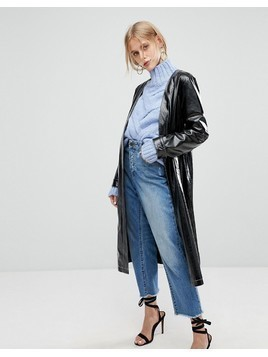 Current Air Vinyl Long Line Jacket with Belt - Black