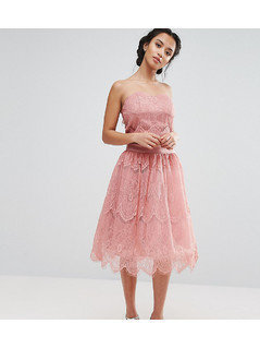Chi Chi London Petite Allover Lace Tulle Full Prom Midi Skirt - Pink