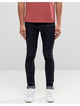 Religion Skinny Fit Hero Jeans in Dark Blue - White