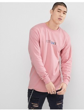 Stussy Long Sleeve T-Shirt With Prism Dice Print in Pink - Pink