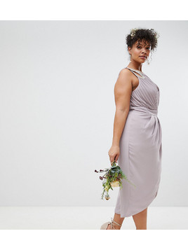 TFNC Plus Wrap Embellished Midi Bridesmaid Dress - Grey