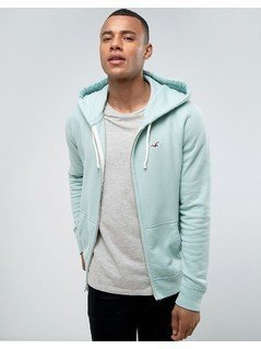 Hollister Zip Through Hoodie Regular Fit Seagull Logo in Turquoise Marl - Blue
