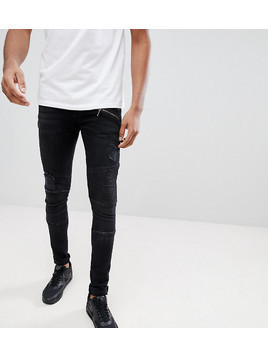 ASOS TALL Super Skinny Jeans In Washed Black Mixed Biker With Rips - Black