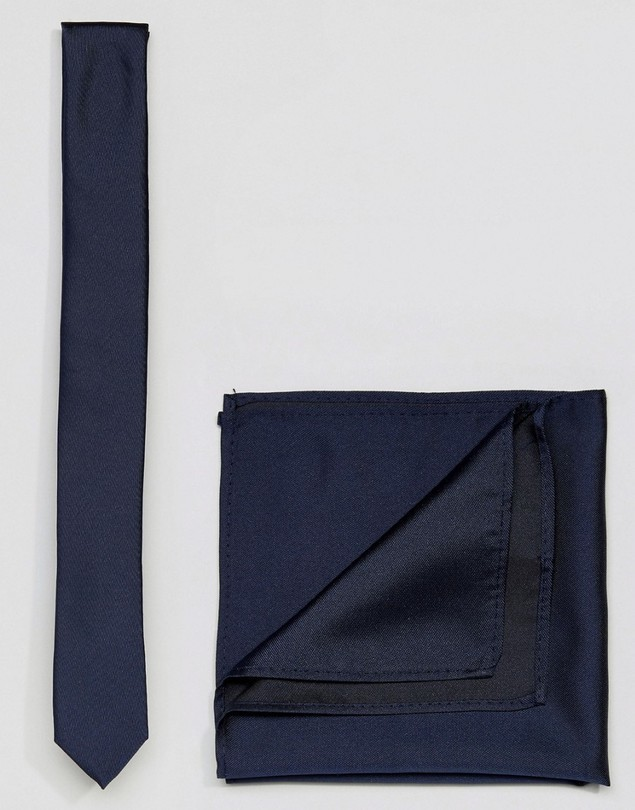 ASOS Navy Tie&Pocket Square - Navy