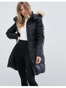 Vero Moda Down Padded Jacket With Faux Fur Collar - Black