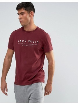 Jack Wills Westmore Front Graphic Text T-Shirt In Damson - Red