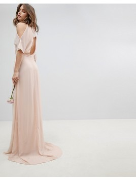 TFNC High Neck Maxi Bridesmaid Dress With Fishtail - Pink