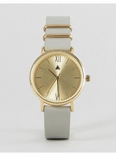 ASOS Premium Satin Lens Leather Watch - Grey