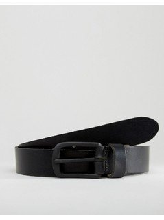 River Island Leather Belt In Black - Black