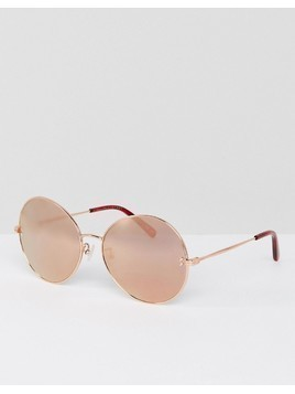 Stella McCartney SC0087S Round Sunglasses In Rose Gold 62mm - Gold