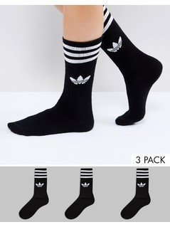 adidas Originals Solid White Crew Socks - Black