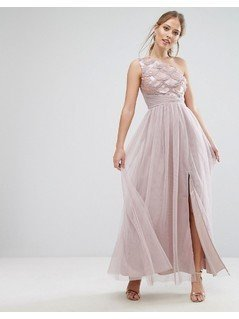 Little Mistress Sequin One Shoulder Maxi Dress - Beige