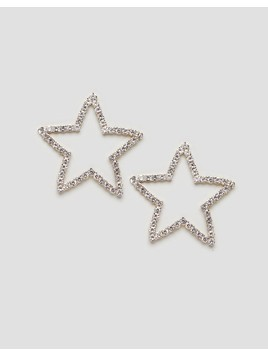 ASOS DESIGN statement earrings in crystal star design in gold - Gold
