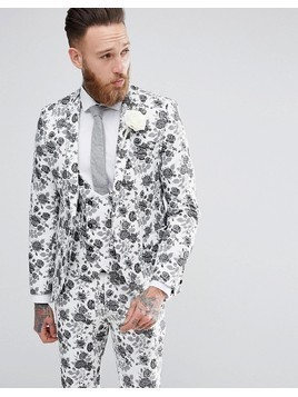 Noose&Monkey Super Skinny Wedding Suit Jacket In Jacqaurd - White