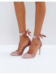 Truffle Collection Tie Ankle Point High Heels - Beige