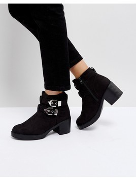 Truffle Collection Buckle Trim Chunky Heel Boot - Black