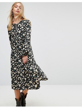 Glamorous Midi Dress In Dot Floral - Black
