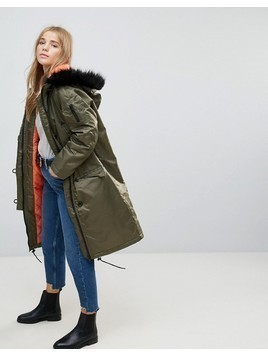 Brave Soul Full Moon Maxi Parka Coat - Green