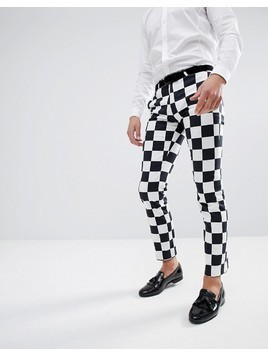 Noose&Monkey Super Skinny Trousers In Checkerboard Print - Black