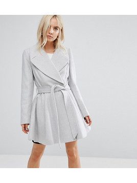 ASOS PETITE Skater Coat with Self Belt and Oversized Collar - Grey
