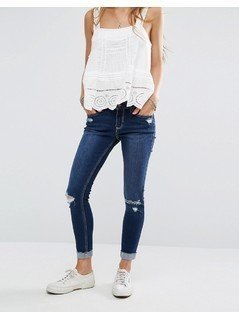 Hollister High Waisted Crop Jeans with Raw-Cut Hem - Blue
