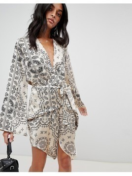 Love & Other Things Paisly Print Wrap Dress - Cream