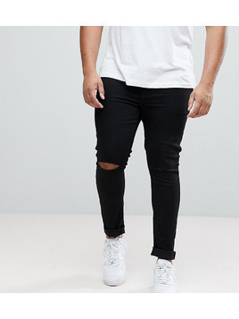 ASOS PLUS Extreme Super Skinny Jeans With Knee Rips In Black - Black