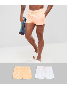ASOS Swim Shorts In White&Bright Orange Super Short 2 Pack SAVE - Multi