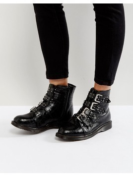 Truffle Collection Croc Buckle Ankle Boots with Studs - Black