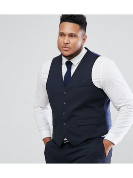 Harry Brown PLUS Plain Stretch Slim Suit Waistcoat - Navy