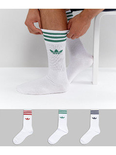 adidas Originals 3 Pack Solid Crew Socks In White CE4991 - White