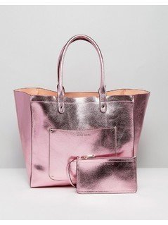 River Island Reversible Metallic Beach Tote Bag With Purse - Pink