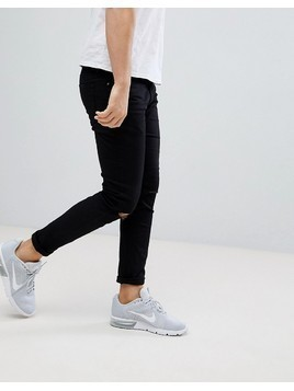 River Island Skinny Fit Jeans With Rips In Black - Black