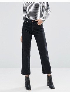 ASOS Florence Authentic Straight Leg Jeans in Washed Black - Black
