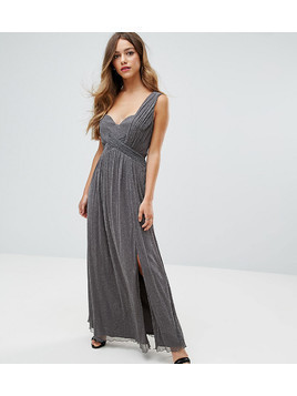 Little Mistress Petite Metallic Jersey Maxi Dress With Wrap Detail - Silver