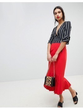 Lost Ink Midi Pencil Skirt With Pleated Hem - Red