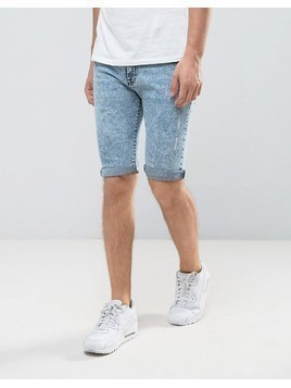 Loyalty and Faith Acid Wash Denim Shorts - Blue