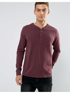 Tokyo Laundry Grandad Collar Long Sleeve Top - Red
