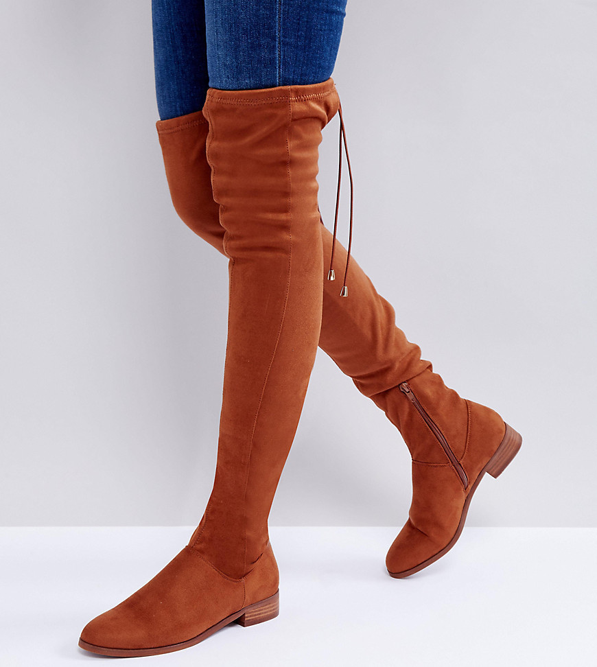 ASOS KEEP UP Flat Over The Knee Boots - Tan