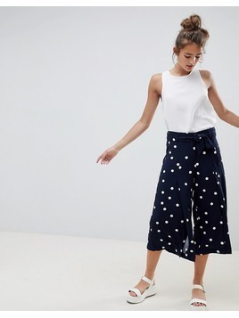 Only Polka Dot Culotte Trousers - Navy