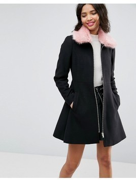 ASOS Skater Coat With Pink Faux Fur Collar - Black