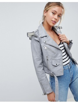 Parisian Faux Leather Jacket With Frill Detail - Grey