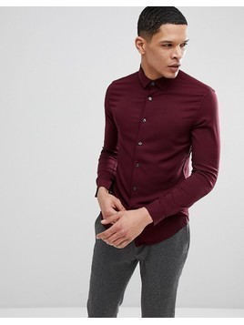 ASOS Muscle Viscose Shirt In Burgundy - Red